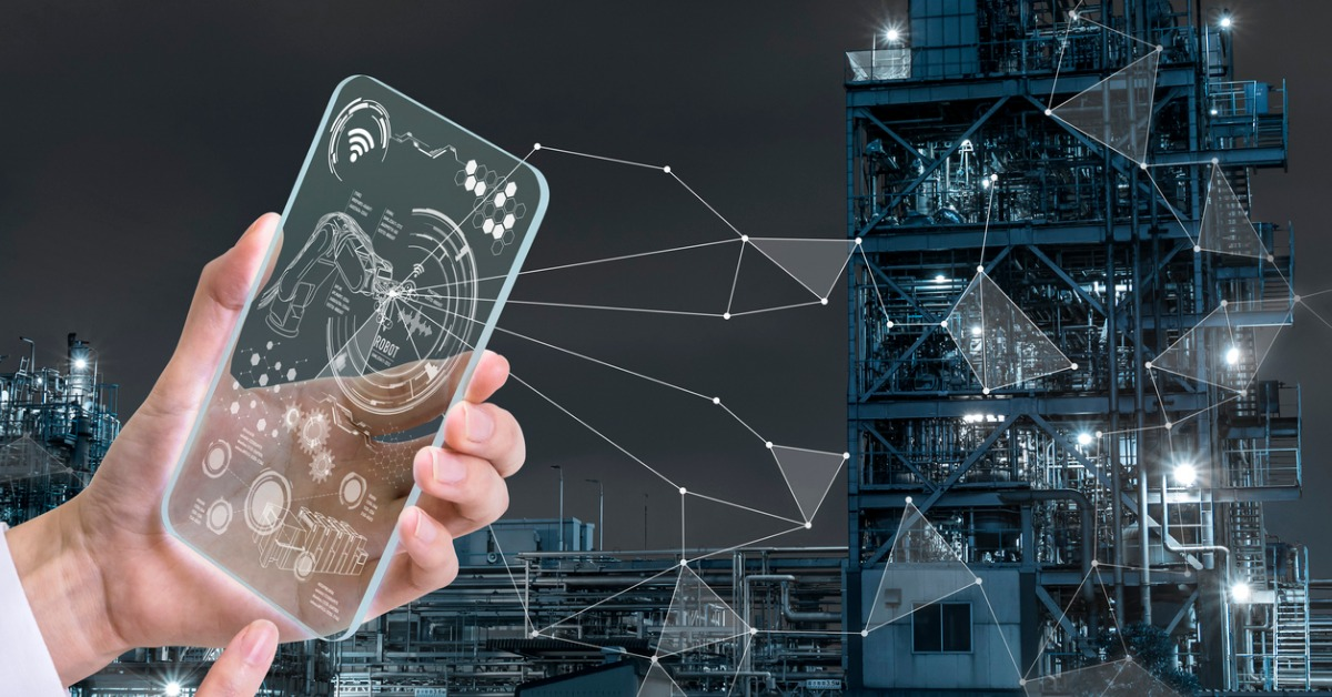 transparent-futuristic-smart-phone-and-smart-industry-technological-picture-id684827332